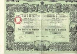 COMPAGNIE MADRILENE D'ECLAIRAGE ET DE CHAUFFAGE PAR LE GAZ - ACTION DE 500 FRS -ANNEE 1880 - Electricité & Gaz