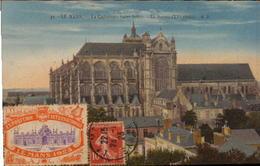 LE MANS. Cpa Colorisée.  La Cathédrale Saint-Julien.La Rosace. (vignette Expo 1923)..  (scans Recto-verso) - Le Mans