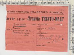 Biglietto Ticket Buillet Biglietto Tranvia Trento Malè S. Michele A/r - Bahn