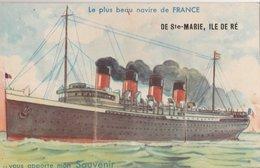 Carte à Système: Le Plus Beau Navire De FRANCE Vous Apporte Mon SOUVENIR De Ste-Marie, ILE DE RE - Ile De Ré