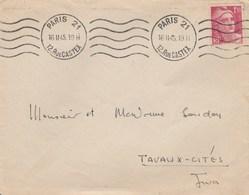 GANDON 1F50 YT 712 SEUL SUR LETTRE 2E JOUR D EMISSION ET 2E JOUR DU TARIF PARIS 16/2/45 POUR TAVAUX CITES JURA - Postmark Collection (Covers)