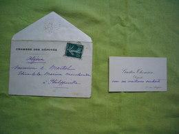CDV + Enveloppe Chambre Des Députés Gaston Thomson Algérie - Tarjetas De Visita