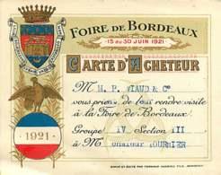 070320A - Carte De Visite 33 BORDEAUX Carte D'acheteur Foire 1921 Illustration Couronne Coq Bleu Blanc Rouge - Bordeaux