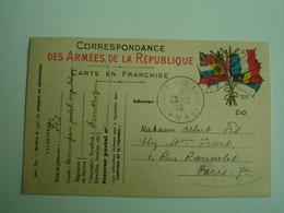 1915 Dunkerque Postes Aux Armees  N  Cachet Franchise Postale Militaire Guerre 14.18 - Marcophilie (Lettres)