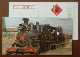 Shanghai Railway Museum,narrow Gauge Railroad Steam Locomotive,train,CN 10 Shanghai New Year Greeting Pre-stamped Card - Trains