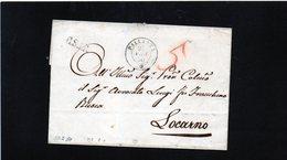 CG19 - Lett. Da Pallanza X Locarno 27/2/1850 - Bollo Doppio Cerchio Sardo Ital.+ C.S 1 R Corr. Sarda 1° Raggio NO TESTO - 1. ...-1850 Prefilatelia