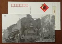 Shanghai Railway Museum Foward Type Steam Locomotive,train,CN10 Shanghai Post Office New Year Greeting Pre-stamped Card - Trains
