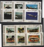 TRANS 57 - UMM AL QIWAIN Série De 12 Val. Non-dentelés Obl. Avions - Umm Al-Qiwain