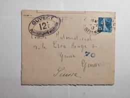 Enveloppe 1917 Controle Postal Militaire Pour La Croix Rouge De Genève - Francia