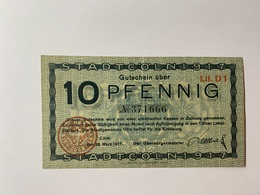 Allemagne Notgeld Coln 10 Pfennig - [ 3] 1918-1933 : République De Weimar