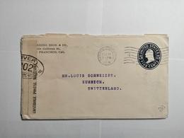Enveloppe 1916 San Francisco - Zurich Avec Controle Militaire - Briefe U. Dokumente