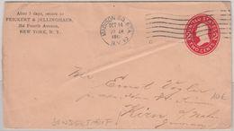 USA - 2 C. Ganzsachenumschlag Madison Kirn 1913 Sondertarif Dirketer Weg ! - Entiers Postaux