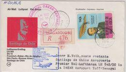 Obervolta - 90 Fr. Lilienthal Zuleitungspost LH-Erstflug Frankfurt/M. - 1979 - Burkina Faso (1984-...)