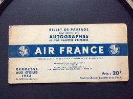 AIR FRANCE KERMESSE AIX ÉTOILES 1953 Autographes *R.SOUPLEX *D.DOLL *À.PREJEAN *J.MARAIS*DADZU - Autographs