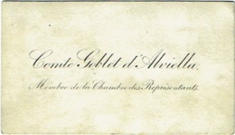 Carte Visite. Comte Goblet D'Alviella. Politique Franç-Maçon. Membre De La Chambre Des Représentants. - Visitenkarten