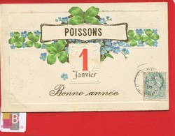Rare Poissons Haute Marne Belle CPA Bonne Année Dorée Trefle Myosotis Maurice Martin Longeville Aisne - Poissons