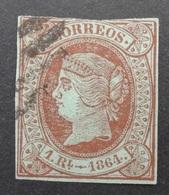 Espagne: Yvert N° 63 (Isabelle II, 1864) Oblitéré - 1850-68 Royaume: Isabelle II