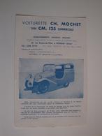 Plaquette Publicitaire Pour Voiturette MOCHET Type CM.125 Commerciale (originale) - Automobile