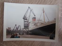 Photo Photos Photographie Cherbourg Le Queen Elizabeth Quai Bateau Paquebot Août 1965 - Lieux
