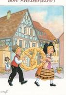 CP Illustrateur Georges Ratkoff Alsace Enchantée Ingersheim Bon Anniversaire Bretzel - Other Illustrators