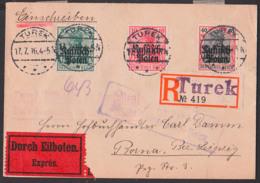 TUREK Deutsche Post In Polen Eil-Brief 17.7.16  5, 10 Und 40 Pfg. Mit Aufdruck Auf Germania Und Prüfstempel - Occupation 1914-18