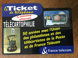TÉLÉCARTOPHILIE TICKET TÉLÉPHONE 5 MN SPÉCIMEN SANS CODE CARTE TÉLÉPHONIQUE PAS TELECARTE - FT