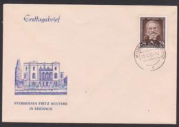 Fritz Reuter Germany Weisswasser Tagesst. 12.7.54, FDC-Umschlag Sterbehaus In Eisenach, DDR 430 - FDC: Buste