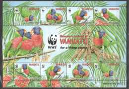 2011 Vanuatu WWF Massena's Lorikeet Sheetlet MNH** MiNr. 1443 - 1446 Birds, Parrots, Endengered Species - Vanuatu (1980-...)