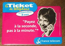 PAYER À LA SECONDE ROSE TICKET TÉLÉPHONE 3 MN SPÉCIMEN SANS CODE 31/01/2003 CARTE TÉLÉPHONIQUE PAS TELECARTE - FT