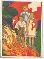 SUIZA ENTERO POSTAL 1930 FIESTA NACIONAL BANDERA FLAG FUEGO FIRE - Omslagen