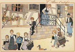 CP Illustrateur Hansi Alsace D'autrefois Départ Pour L'école - Hansi