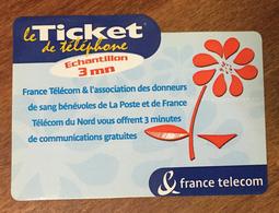 DONNEURS DE SANG TICKET TÉLÉPHONE 3 MN SPÉCIMEN SANS CODE 15/12/2002 CARTE TÉLÉPHONIQUE PAS TELECARTE - FT