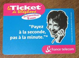 PAYER À LA SECONDE TICKET TÉLÉPHONE 5 MN SPÉCIMEN SANS CODE 01/10/2002 CARTE TÉLÉPHONIQUE PAS TELECARTE - FT