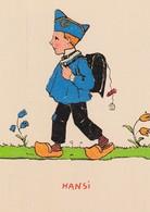 CP Illustrateur Hansi Ecolier Sac à Dos Sabots - Hansi