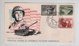 REF480/ TP 1032-1033-1034 Patton C.Mémorial Général Patton 28/10/1957 - FDC