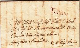 Torino Per Napoli, Lettera Con Contenuto 1791 - Italie