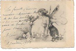 L100F122 - Bonne Année - Dessin De Femme Papillon Et D'un Cochon - Carte Précurseur N°1097 - Neujahr