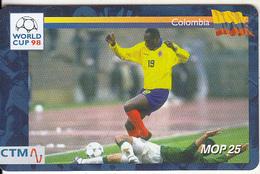 MACAU(chip) - FIFA World Cup 98 France/Colombia, CN : 51MCU98D, 04/98, Used - Macau