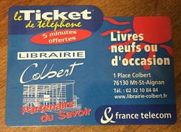 LIBRAIRIE COLBERT TICKET TÉLÉPHONE 5 MN SPÉCIMEN SANS CODE 06/11/2003 CARTE TÉLÉPHONIQUE PAS TELECARTE - FT