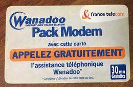 WANADOO PACK MODEM FRANCE TELECOM TICKET TÉLÉPHONE 30 MN SPÉCIMEN 30/03/2001 CARTE TÉLÉPHONIQUE SANS CODE PAS TELECARTE - FT
