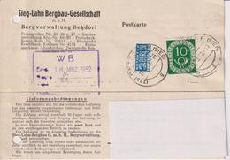 Karte BRD, Sieg-Lahn Bergbau Gesellschaft Betzdorf, 1952, Bergbau, Mit Notopfermarke - Mineralien