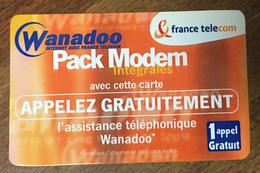 WANADOO PACK MODEM FRANCE TELECOM TICKET TÉLÉPHONE 1 APPEL SPÉCIMEN 30/03/2001 CARTE TÉLÉPHONIQUE SANS CODE TELECARTE - FT