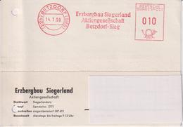 Karte BRD, Absenderfreistempel Erzbergbau Siegerland AG Betzdorf-Sieg, 1959, Bergbau - Mineralien