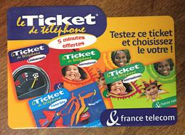TESTEZ CE TICKET FRANCE TELECOM TICKET TÉLÉPHONE 5 MN SPÉCIMEN 28/03/2003 CARTE TÉLÉPHONIQUE SANS CODE TELECARTE - FT