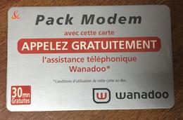 PACK MODEM WANADOO FRANCE TELECOM TICKET TELEPHONE 30 MN SPÉCIMEN 01/10/2003 CARTE TÉLÉPHONIQUE PAS TELECARTE - FT