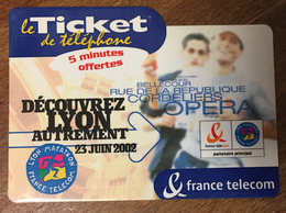 MARATHON DE LYON TICKET TÉLÉPHONE 5 MN SPÉCIMEN 01/10/2002 CARTE TÉLÉPHONIQUE SANS CODE TELECARTE - FT