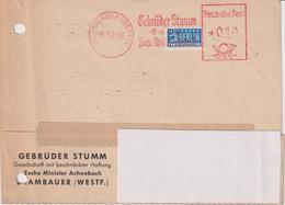 Karte BRD, Absenderfreistempel Gebrüder Stumm GmbH, Zeche Minister Achenbach Brambauer, 1950, Bergbau - Mineralien