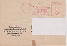 Karte BRD, Absenderfreistempel Gelsenkirchener Bergwerks AG, Gruppe Dortmund, 1952, Bergbau - Mineralien