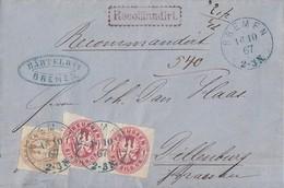 Preussen R-Brief Mif Minr.2x 16,18 Blauer K1 Bremen 16.10.67 Gel. Nach Dillenburg Mit Inhalt - Prussia