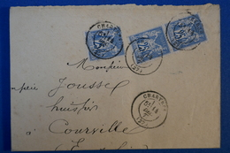 B65 FRANCE LETTRE 1877 CHARTRES A COURVILLE + CACHETS INTERESSANTS - 1876-1898 Sage (Type II)